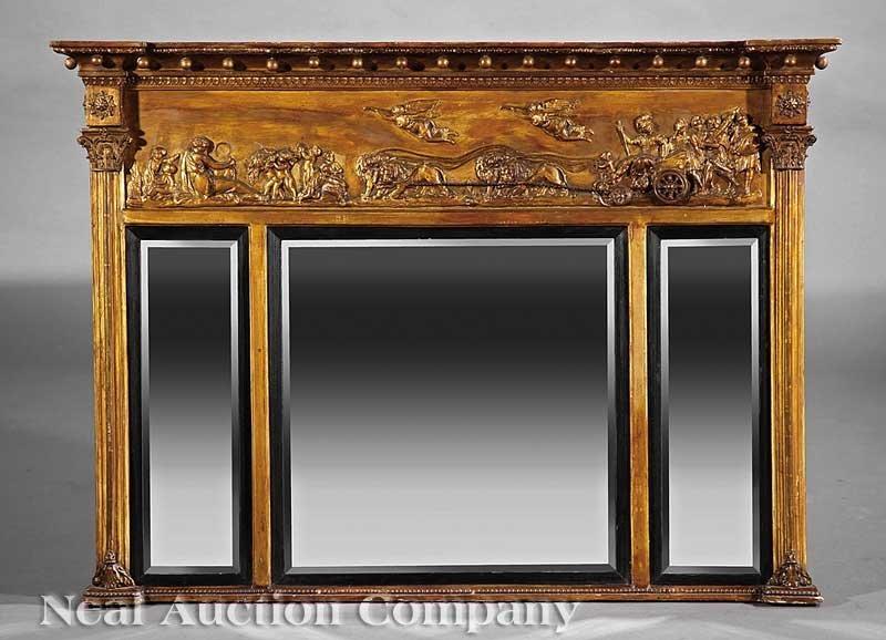 0015: Regency Carved Giltwood Overmantel Mirror