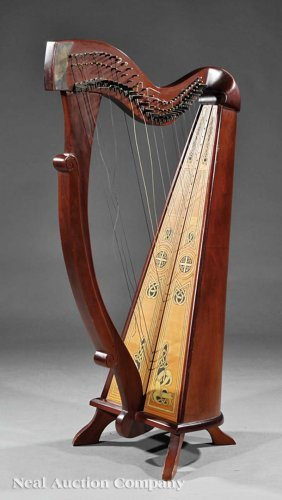 Irish Mahogany And Satinwood Harp