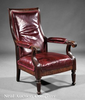 0021: Classical Carved Mahogany Library Armchair