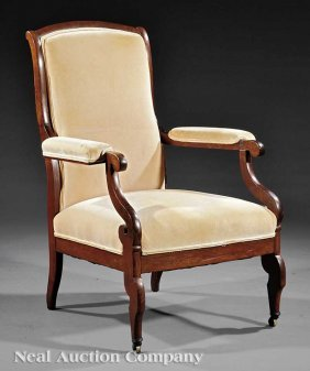 """0022: Classical Carved Rosewood """"Voltaire"""" Armchair"""