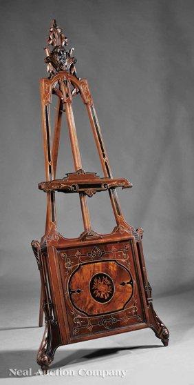 0023: Ebonized, Gilded, Polychrome Carved Walnut Easel
