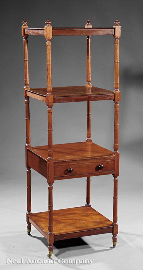 0024: American Federal Carved Mahogany Etagere