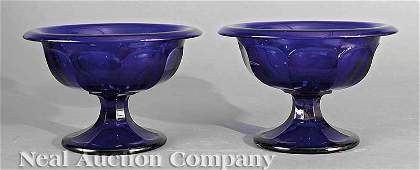 0483: A Pair of French Cobalt Glass Compotes