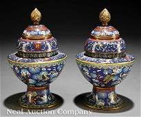 0627 Pair of Chinese Cloisonne Stem Bowls