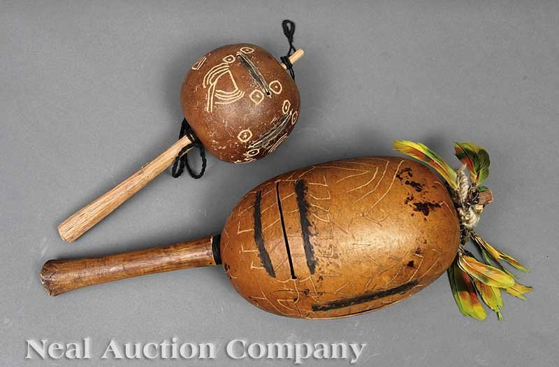 0672: Two Amazonian Gourd Shaman's Rattles