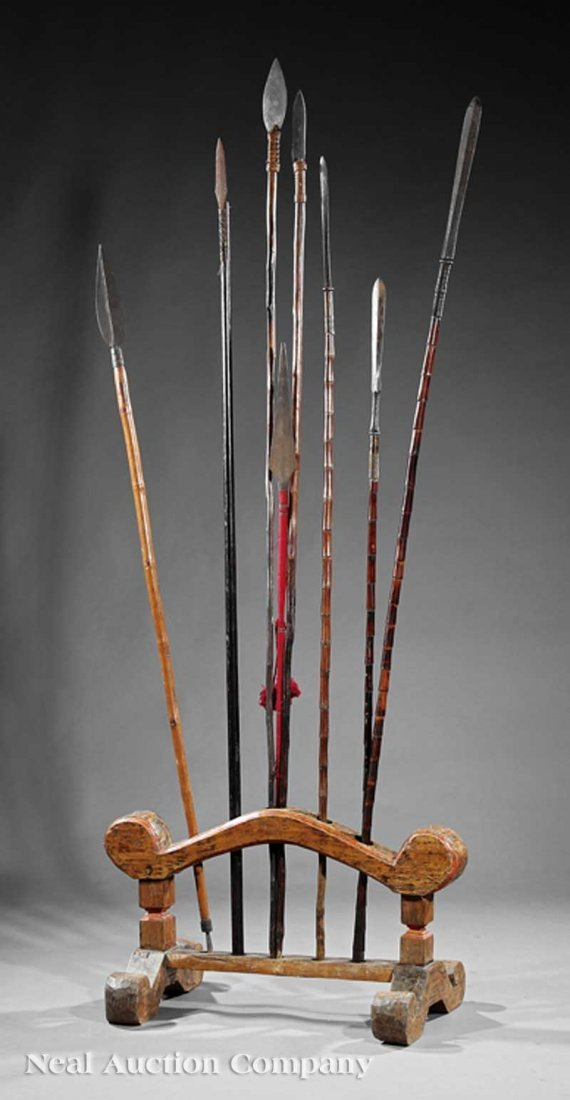 0687: Southeast Asian Wood Spear Stand and Spears