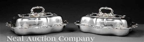 0787 Pair James Dixon  Sons Sheffield Entree Dishes