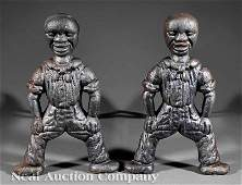 0931 A Pair of American Folk Art Cast Iron Andirons