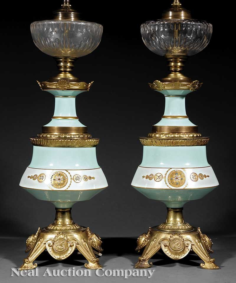 1042: A Pair of Antique French Porcelain Lamps