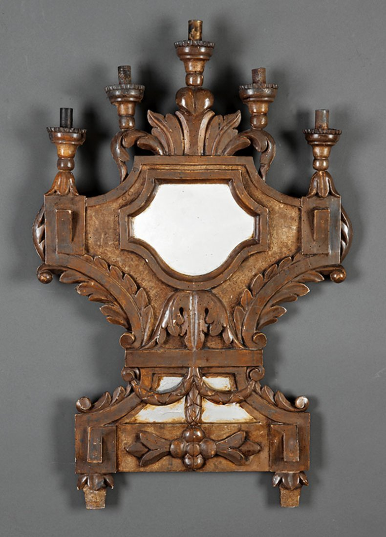 Carved Beechwood Five-Light Mirrored Appliques