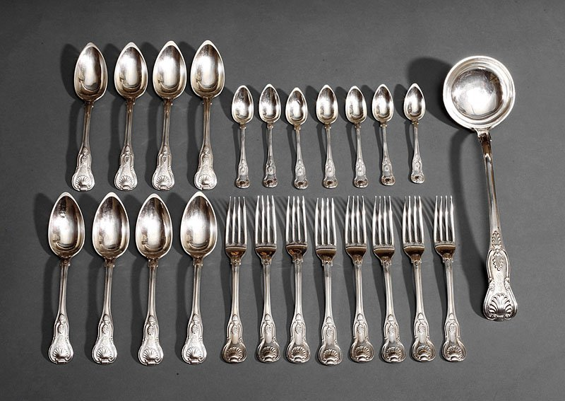 "French First Standard Silver ""Kings"" Flatware"