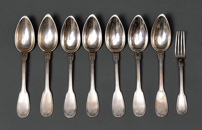 French First Standard Silver Tablespoons