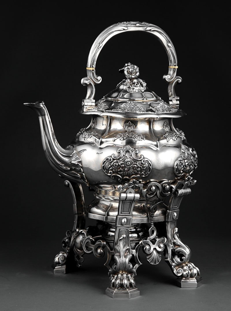 Turquet Silver Tea Kettle and Stand