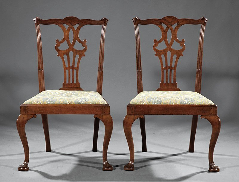 American Chippendale Carved Walnut Side Chairs