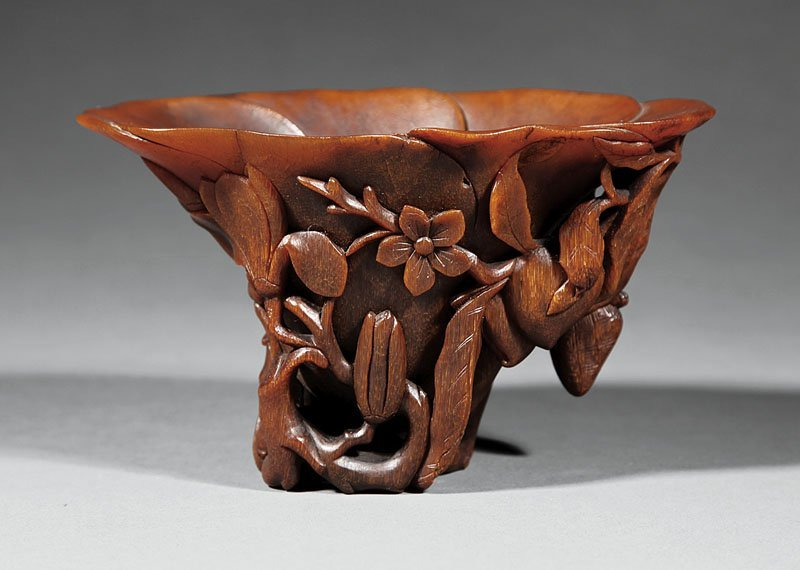 Chinese Carved Rhinoceros Horn Libation Cup