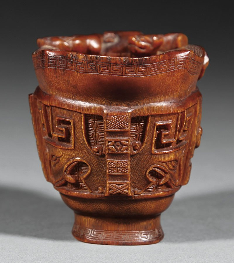 Chinese Carved Rhinoceros Horn Libation Cup - 4