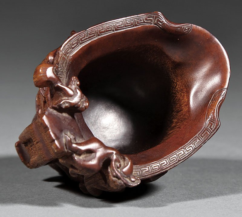 Chinese Carved Rhinoceros Horn Libation Cup - 6