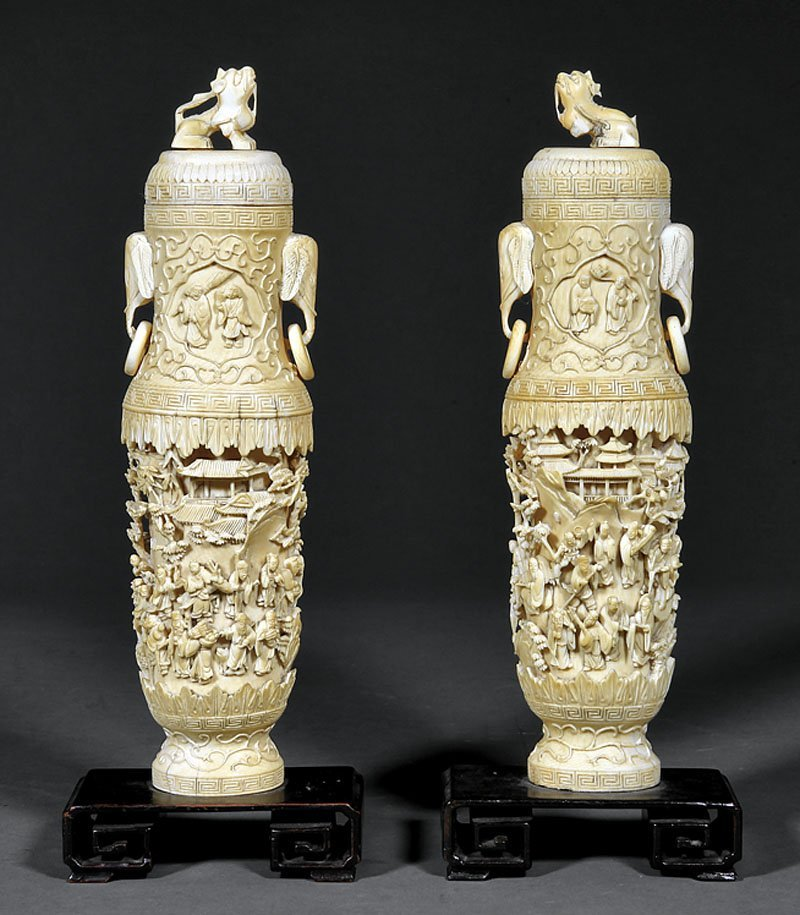Pair of Chinese Carved Ivory Covered Vases
