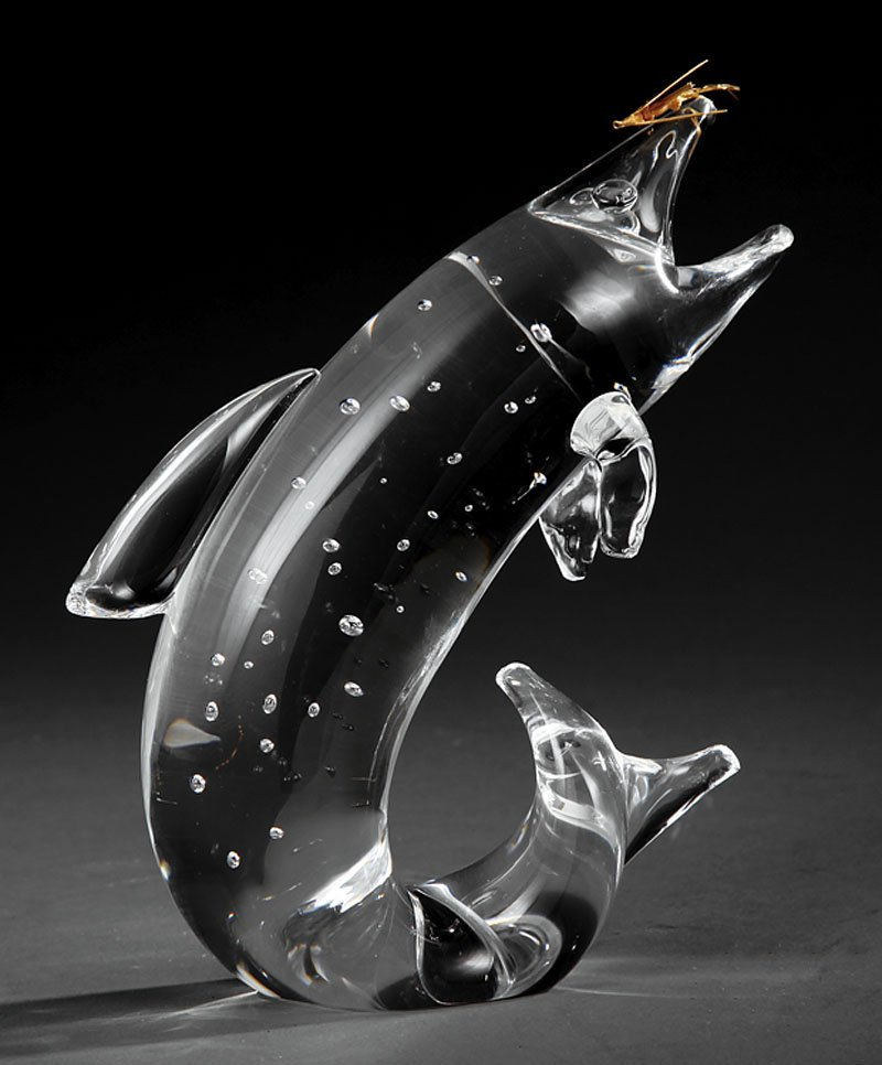 """Steuben Glass Sculpture """"Trout and Fly"""""""