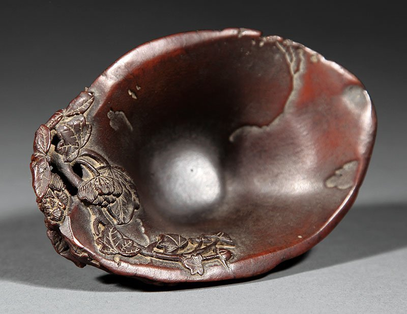 Chinese Carved Rhinoceros Horn Libation Cup - 7