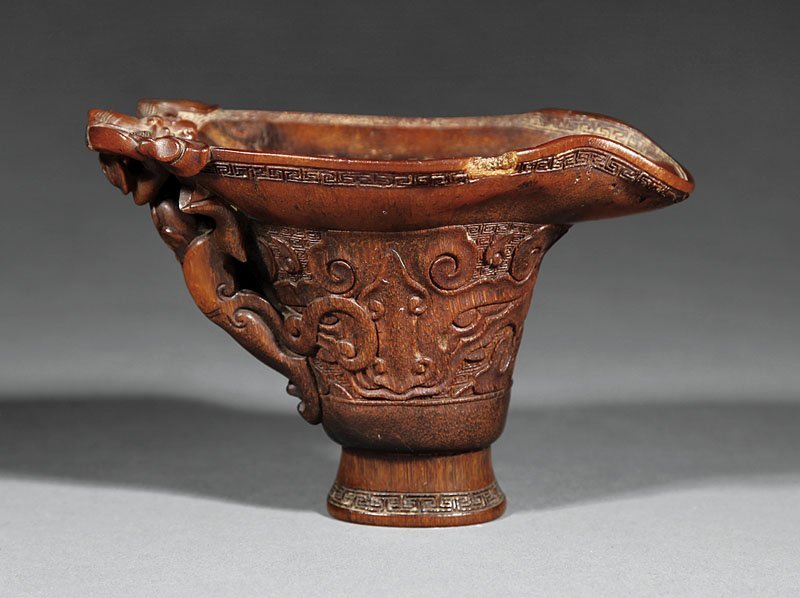 Chinese Carved Rhinoceros Horn Libation Cup - 2
