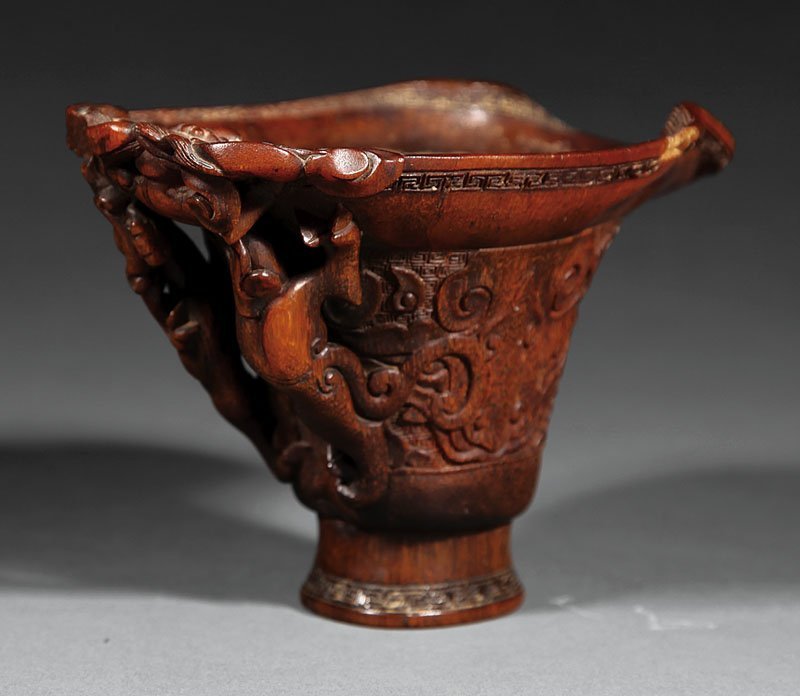 Chinese Carved Rhinoceros Horn Libation Cup - 5
