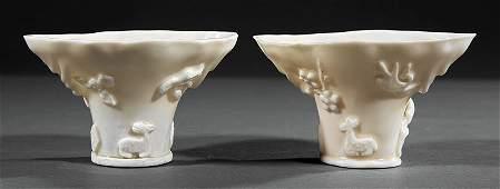 Chinese 'Blanc de Chine' Porcelain Libation Cups