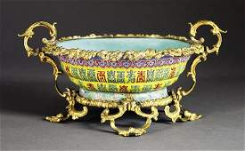 Gilt Bronze Mounted Chinese Famille Rose Bowl