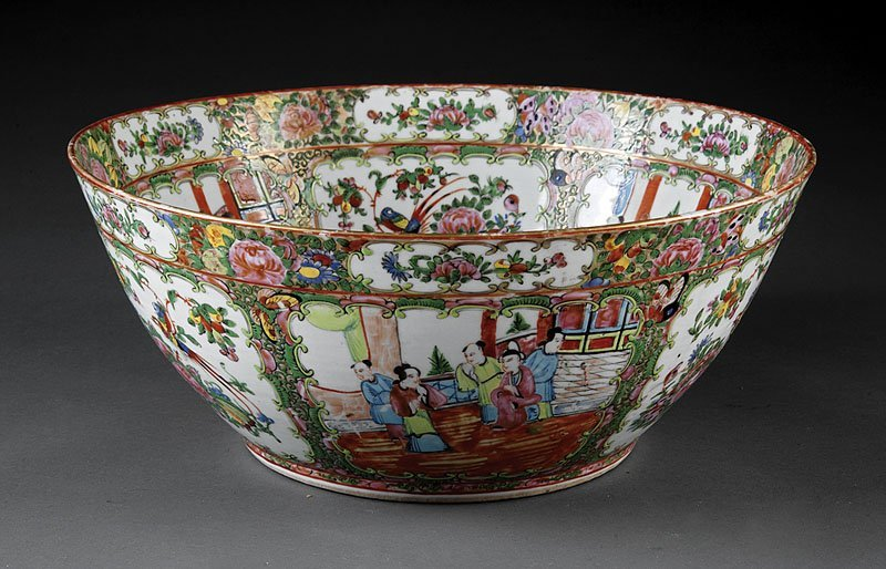 Chinese Canton Famille Rose Porcelain Punchbowl