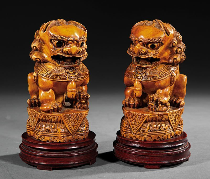 Chinese Carved, Stained Ivory of Buddhist Lions