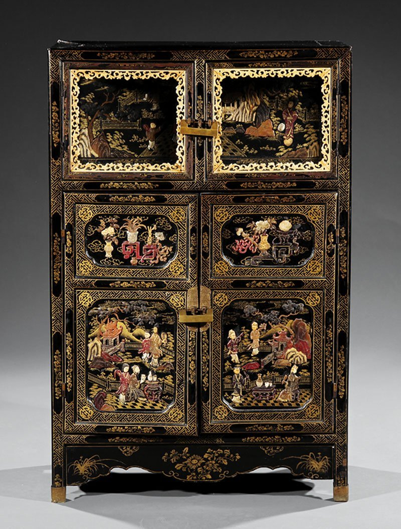 Chinese Embellished Lacquer Cabinet
