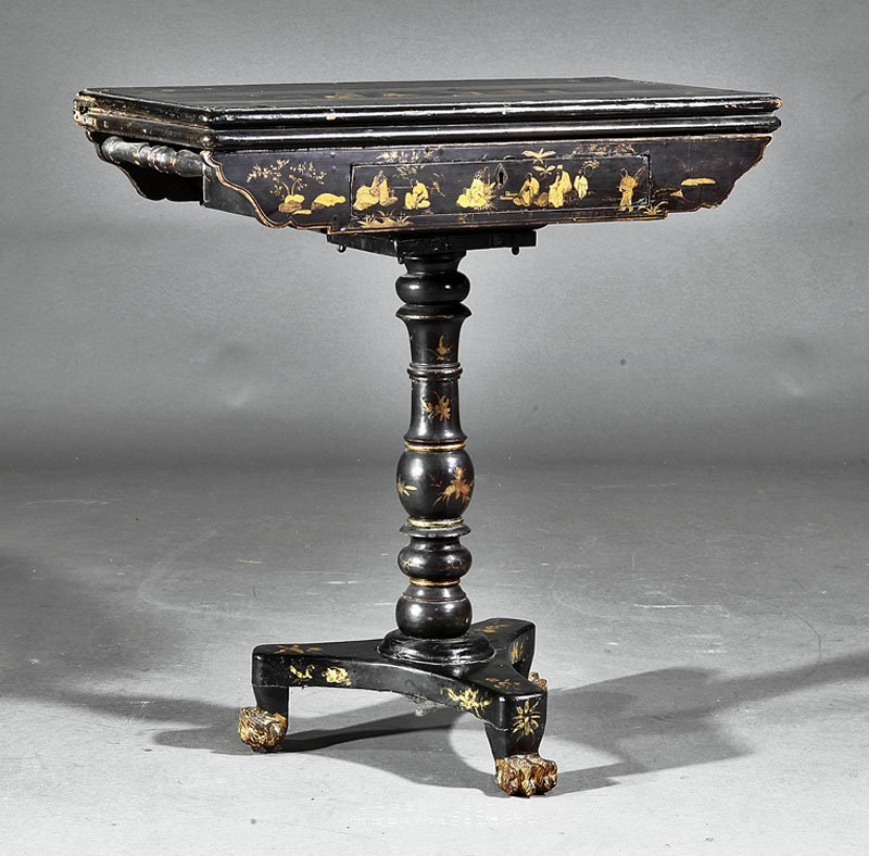 Chinese Export Gilt, Black Lacquer Games Table