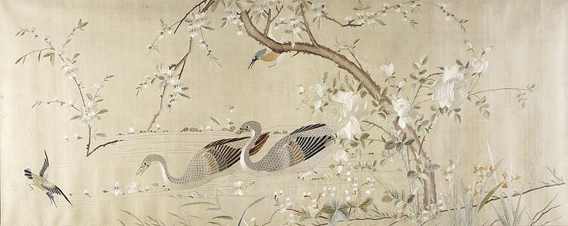 Two Chinese Embroidered Cream Silk Panels