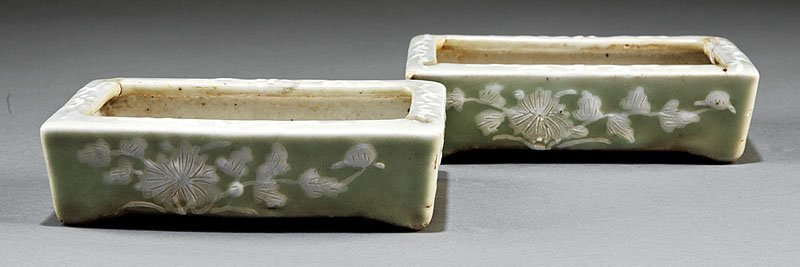 Chinese Slip Decorated Celadon Narcissus Pots