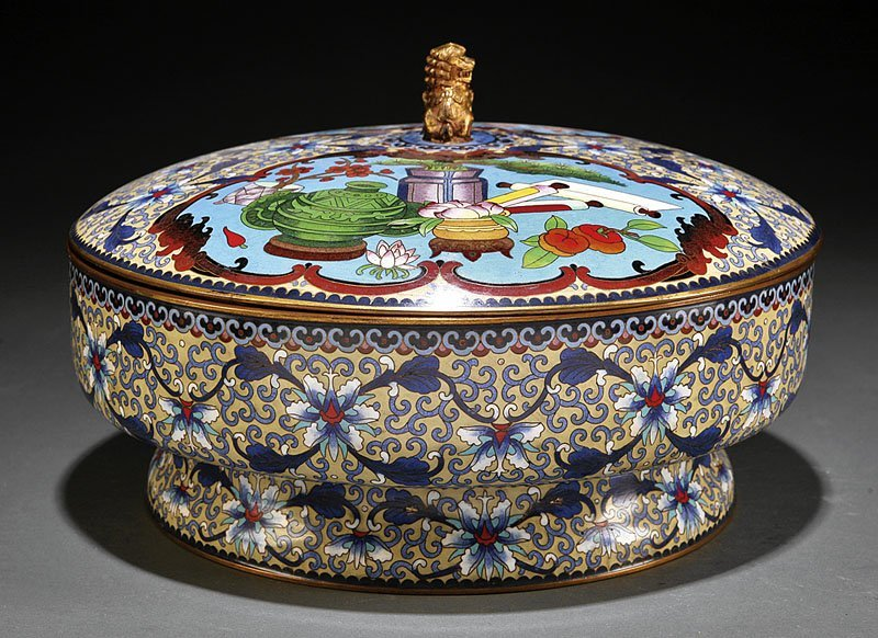 Chinese Cloisonne Enamel Footed Bowl and Cover