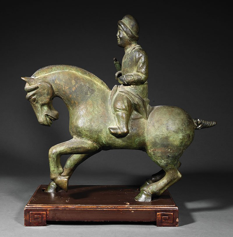 Chinese Bronze Model of a Horse and Rider