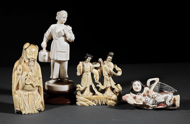 Four Chinese Carved Ivory Figures