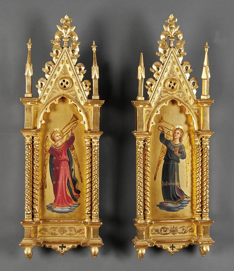A Pair of Italian Gothic Carved Giltwood