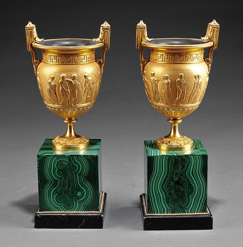 A Pair of Empire-Style Gilt Bronze Urns