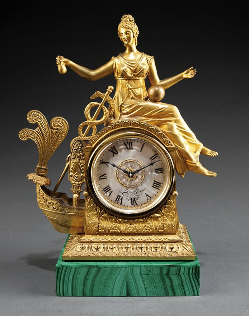 A French or Russian Bronze Figural Mantel Clock