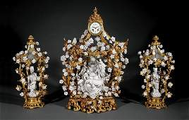 "A Louis XV-Style ""Blanc-de-Chine"" Clock Ganriture"