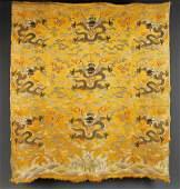 """A Chinese """"Yunjin"""" Yellow Silk Nine Dragon Panel"""