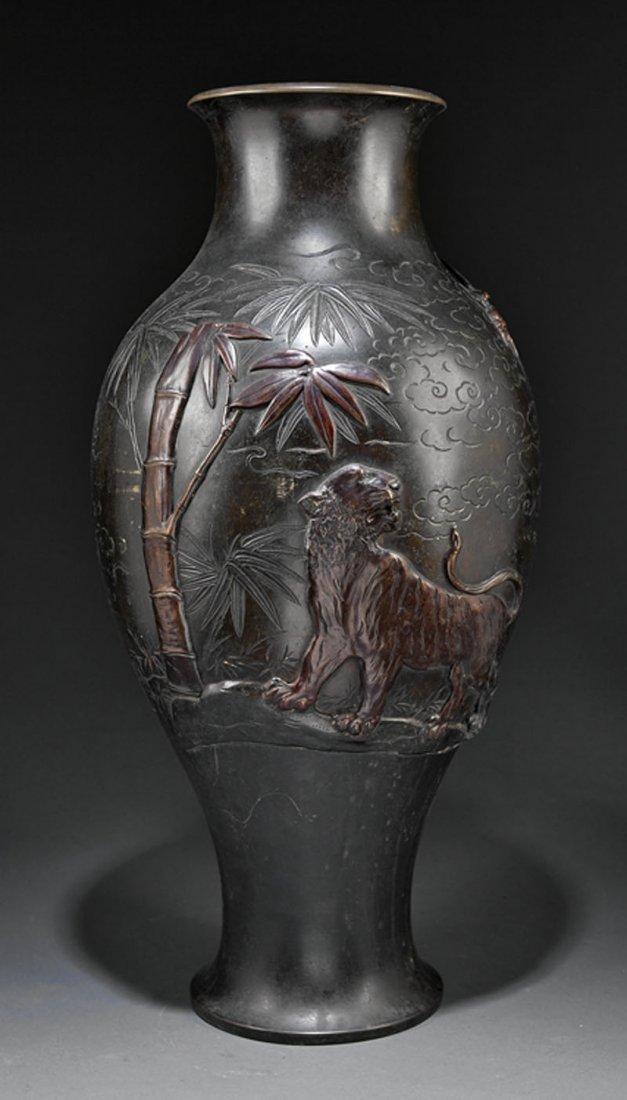 A Japanese Bronze Baluster Vase
