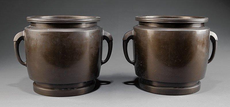 A Pair of Japanese Bronze Jardinières
