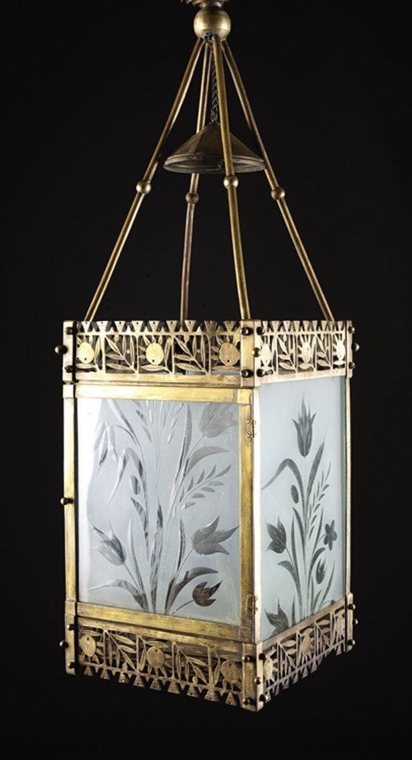 An American Aesthetic Brass Hall Lantern