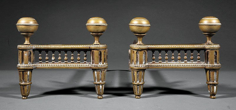 A Pair of French Bronze Chenets