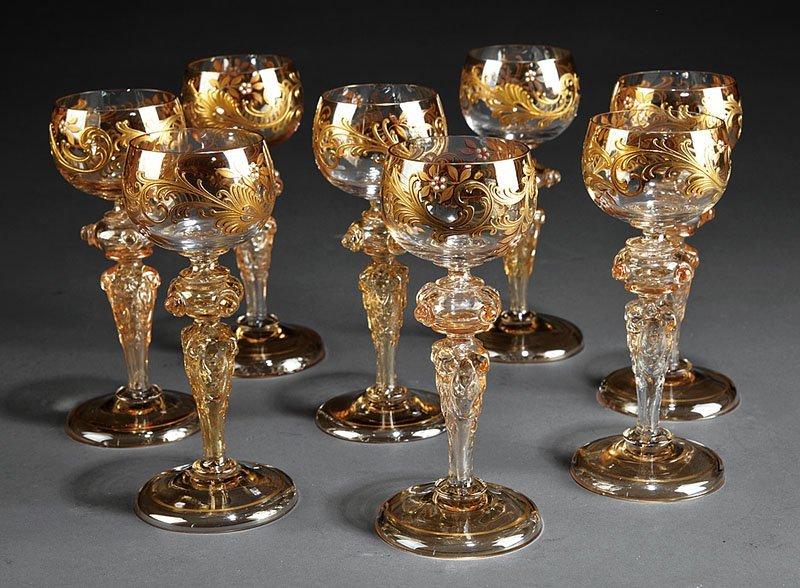 Nine Venetian Gilt Blown Glass Wine Glasses