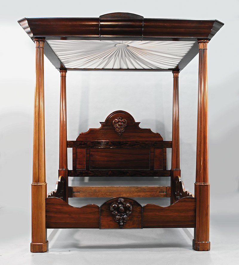 An American Rococo Carved Rosewood Tester Bed
