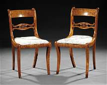 Pair of American Federal Tiger Maple Side Chairs