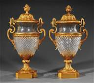 Cut Crystal and Gilt BronzeMounted Covered Urns